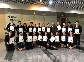 Thai Airways celebrate the internship certificates to students from Airline Business, International College, Suan Sunandha Rajabhat University.